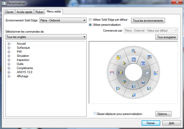 Personnaliser l'interface Solid Edge