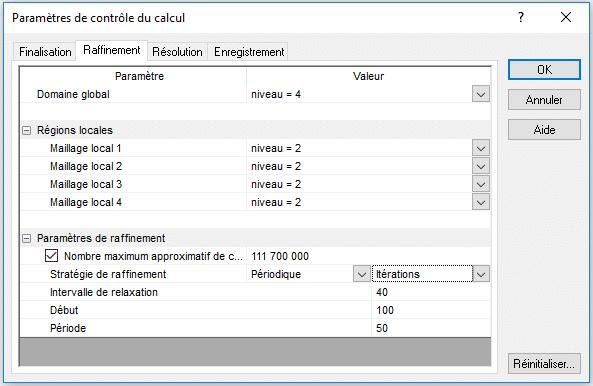 Paramètres pour le raffinement automatique du maillage