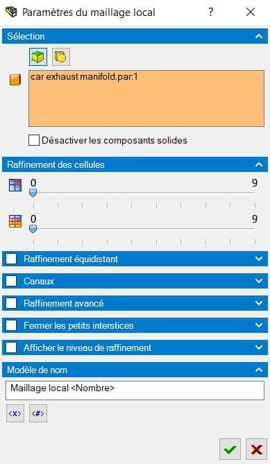 Interface pour la création d'un maillage local