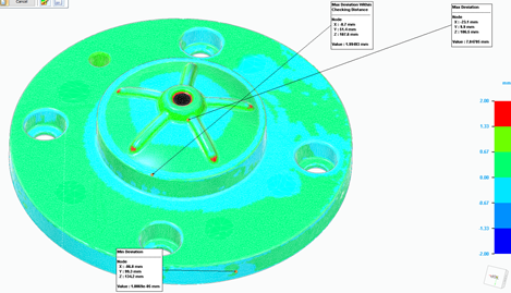 Résultat d'une analyse de déviation mise en couleurs Ingénierie inverse solid edge 2021