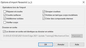 Options d'ouverture d'un fichier .step