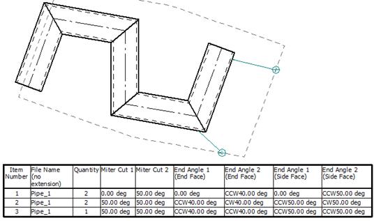 Mise en plan d'une tuyauterie rapportant dans la nomenclature les angles des extrémités de chaque tuyau