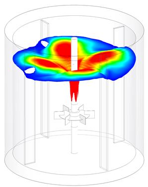 Simulation d'une surface libre avec la rotation Nouveautés 2021 FLOEFD